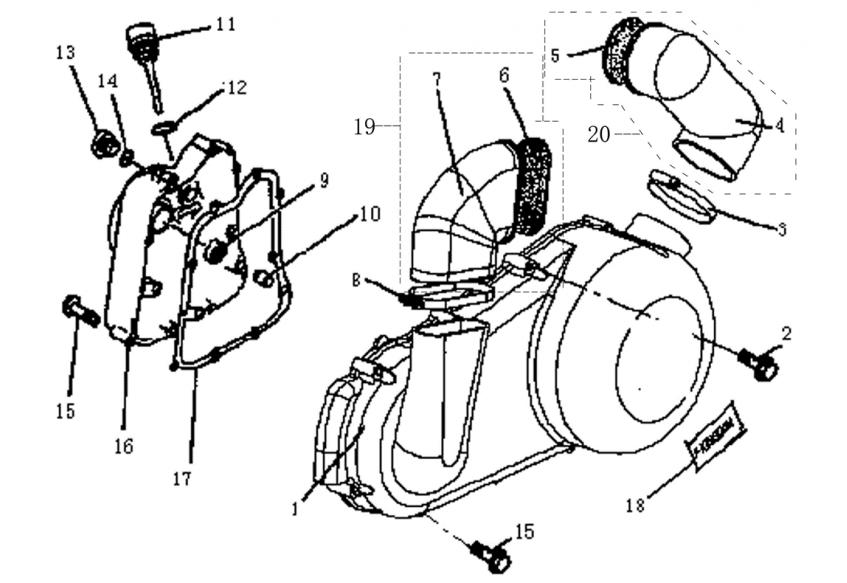 Запчасти крышки вариатора и двигателя
