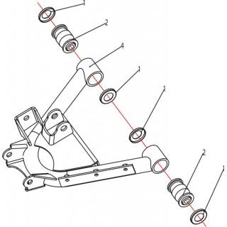 Запчасти нижних рычагов задней подвески