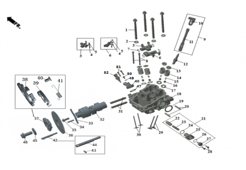 Головка цилиндра ДВС (задняя, с ручным стартером)