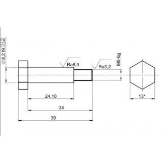 Ось рычага переключения (М6х1.0х34мм), оцинкованная, LU075148